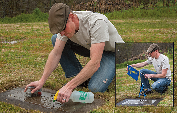 Zach Yoder, a member of the Oregon State Police Honor Guard and a trooper at The Dalles Area Command, cleans the grave of Trooper Leroy Spickerman, 26, who died on duty in 1948, and then posts a memorial ribbon and state flag that will mark the site at the IOOFCemetery in TheDalles until the end of National Police Week, May 14-21.