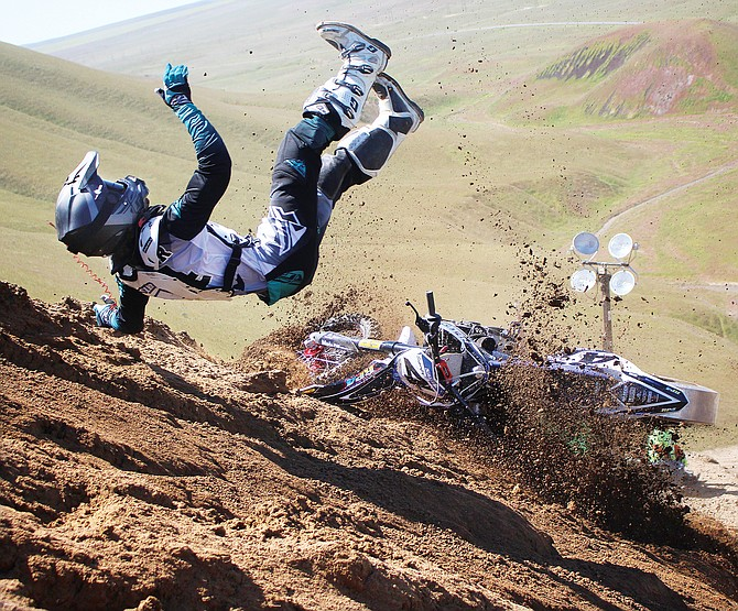 """Professional hillclimber Austin """"Superfly"""" Teyler of Billings, Mont., crashes Sunday just yards from finish of a 2,000-foot race course at Dry Creek Recreation Area north of Sunnyside."""