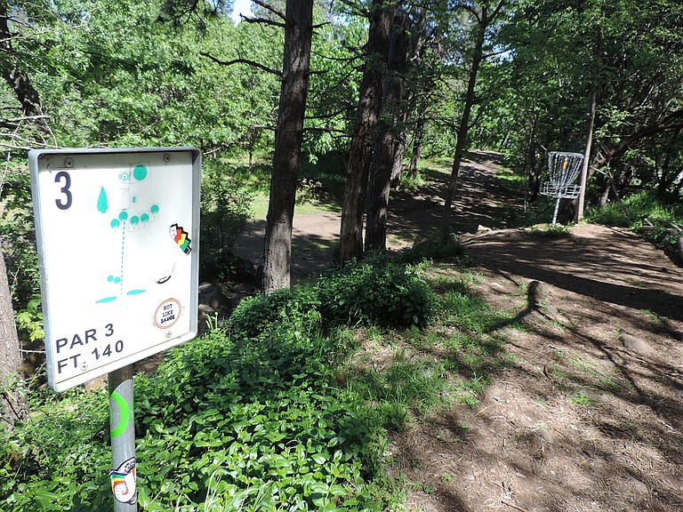 DISC golf and wooded open space are the primary attractions of the five-acre park at 20th and Wasco streets.