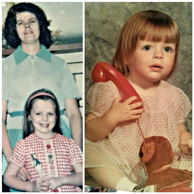 (Left) Lorie Palmer and her mom as seen here circa 1974 when Lorie was 6 years old; and (right) Lorie is seen here at the age of 2 – look closely to see a saddle shoe peeking out at the bottom left of the photo.