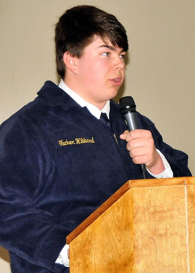 Prairie High School FFA member, junior Tucker Hibbard, spoke at a recent organizational banquet.