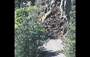 Rocks cover a portion of Highway 30's Rowena Loops location just east of the Rowena Crest Viewpoint after a Sunday evening rockslide. This is the view from the overlook.