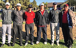 The Dalles golfers, pictured from left to right, Tyler Vassar, Aidan Telles, Chase Snodgrass, Jacob Ford, Mark Felderman and head coach Kent Smith are making another trip to Banks for the 5A state championship after ending up in a third place tie with a two-day total of 682 at this weekend's 5A Special District 2 Championships at Eagle Crest in Redmond.