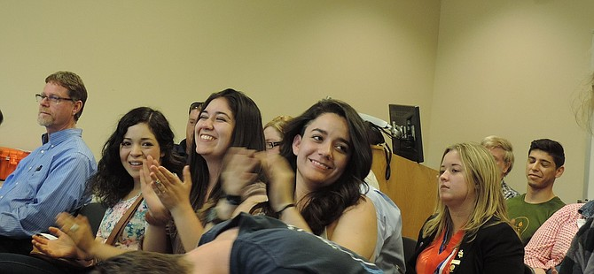 STUDENTS cheer the CGCC board's decision during Tuesday's meeting to declare sanctuary at the Hood River campus.