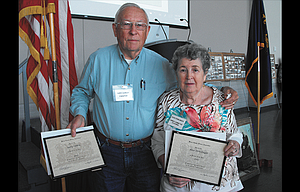 Gary Conley and Rose Denslinger were named as the Wasco County Pioneer Man and Woman of the Year at the 95th Annual meeting of the Wasco County Pioneer Association May 6 at the Fort Dalles Readiness Center.