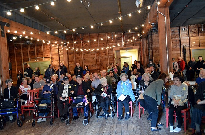 "CROWD gathers at Springhouse Cellars Saturday for ""Train of Tears,"" a May 13 event recognizing the 1942 forcible evacuation of people of Japanese heritage. In the front row are Nisei, second generation Japanese Americans, from the Mid-Columbia area."