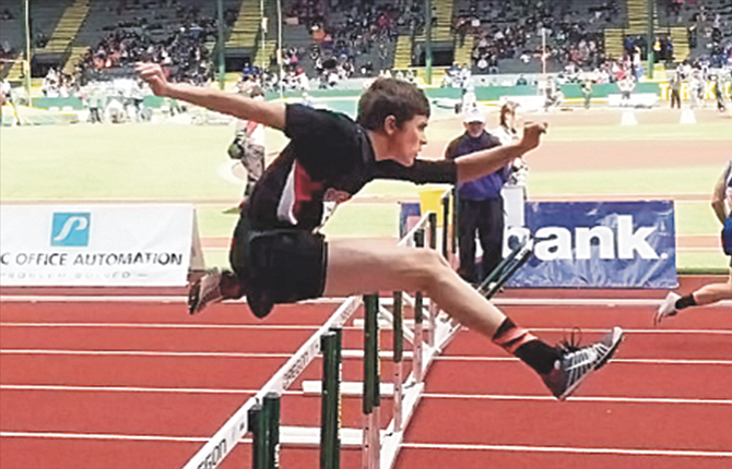 Cole Kortge competes in hurdles in 2016. He set a personal record (PR) in the 300 meter hurdles on Saturday, when his 44:18 was good for second place and a trip to state.