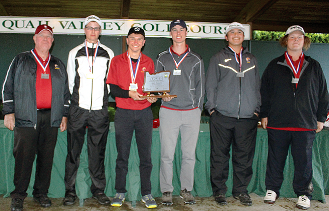 The Dalles golfers celebrated the program's best team finish after combining for a two-day total of 660 to secure second place, 25 strokes behind three-time champion Summit at the OSAA/U.S. Bank/Les Schwab Tires 5A State Championships completed Tuesday at Quail Valley Golf Course in Banks. In the photo are, from left to right, coach Kent Smith, Tyler Vassar, Chase Snodgrass, Mark Felderman, Aidan Telles and Jacob Ford. Snodgrass placed third individually, Vassar was tied for ninth and Felderman ended up in a 15th-place tie to lead the Riverhawks.