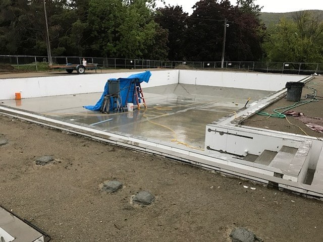 Progress continues on the construction of the Tonasket public swimming pool in History Park.