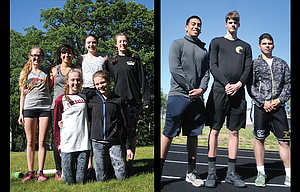 The Dalles track and field athletes, pictured from left to right, starting on left, Shyanne Cady, Elizabeth Tapia, Molly Nelson, Tressa Wood, and in front, Jenna Miller and Emma Mullins earned a state trip. On right are TD boys state qualifiers, Julian Hernandez, Justin Conklin and Cameron Perez.
