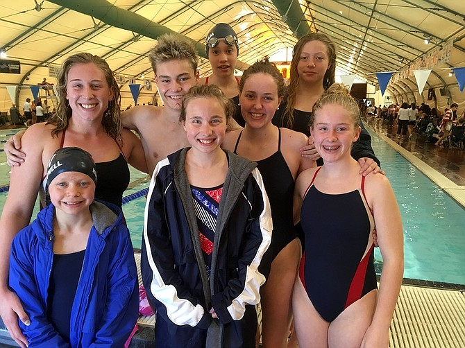 THE HRVST OSPREY had a good start to the summer season. Above at the Bend meet, left to right, front row: Willow Hollowell, Sopha Kaden, Thea Smith. Back row: Nadia Smith, Phillip Hecksel, Nora Sandoval, Allie Burke, Skyla Hollowell.