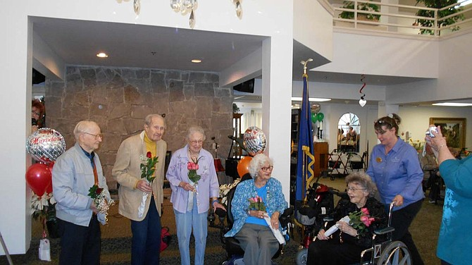 The following residents at Hidden Lakes are celebrating birthdays of at least 100 years: Red Olin, 105 years; Jerry Perry, 102 years; and Bertha Erby, Betty Wilson and Nadine Girod, each reaching 100 years old.