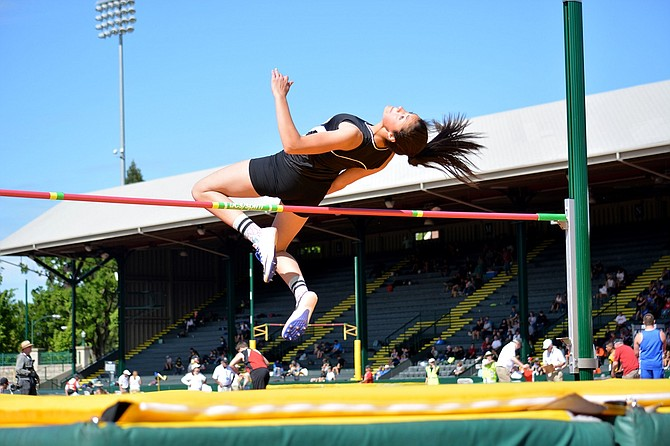 HORIZON TRACK AND FIELD ATHLETE Paulina Finn competes in high jump during the 1A state meet in University of Oregon's Hayward Field in Eugene late last week.