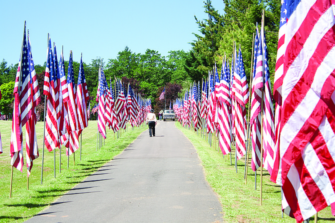 Volunteers placed more than 700 flags, each with a name of a fallen service member, around the road through Dallas Cemetery for the Avenue of Flags ceremony held on  Monday. Each year the display adds more names of those who served in the military.
