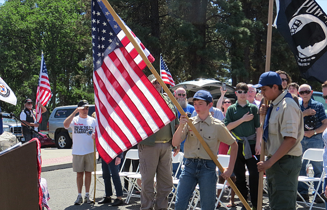 Boy Scouts present the national and state colors at Monday's Memorial Day ceremony in The Dalles.