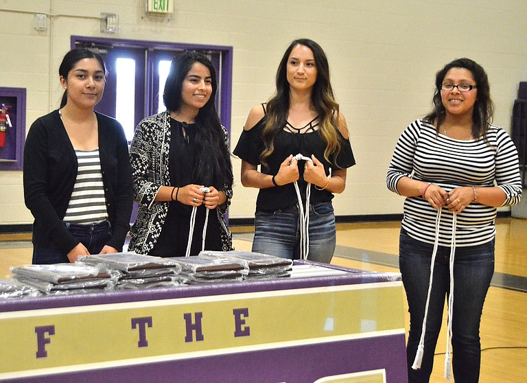 Mabton High School's Top 10 scholars are, left to right, Gabriell Garza, Class Valedictorian Veronica Ahumada,  Class Salutatorian Denia Trujillo and Jacquline Flores.  The seniors were honored Wednesday. Not pictured is Eduardo Mercado.