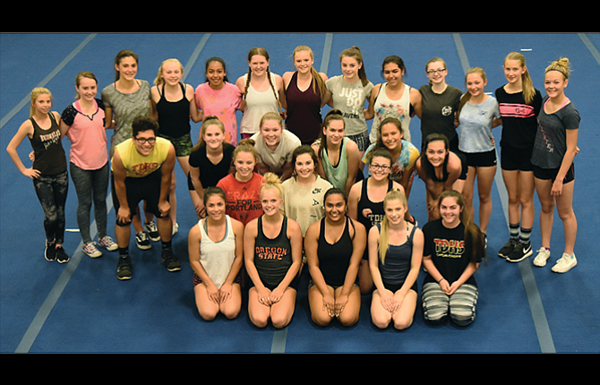 The Dalles cheer squad is back in action for the start of the 2017-2018 season with an expanded roster, including 10 returners, six of them seniors for third-year coach Kelsey Sugg. In the photo are, starting in the back, left to right, Alex McAllister, Amber Hillegas, Selah Cosgrove, Icyss Morgan, Ariana Acevedo, Lorelay Berry, Annabelle Shearer, Emily Adams, Regina Keilman, Mia Barber, Megan Brace, Olivia Thomas and Cadence Snyder. In the third row are, from left, Miguel Torres, Emma Koch, Breanna Birchfield, Giselle Browning-Schwartz, Karla Hernandez and Annalia Singhurst. Kneeling in the second row are, from left, Jordyn Hattenhauer, Zaida Lopez and Mackenzie Smith. In the front row are seniors, from left, Jessika Nañez, Kendyl Kumm, Shivani Patel, Samantha Stanley and Carey Stone. Not in the picture are: Jenifer Salinas-Deras, Stephanie Flores and Sydney Fransen.