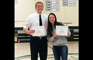 South Wasco County students Ty Herlocker and Allie Noland were named co-Students of the Year at the SWC Spring Awards held last week in Maupin.
