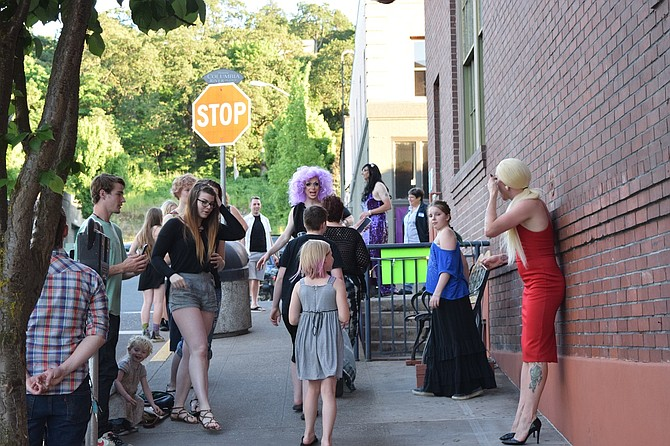 """COMMUNITY members meet performers May 26 at Hood River Hotel prior to a """"Burlesque Show"""" event, a fundraiser for Columbia Gorge Pride Alliance."""