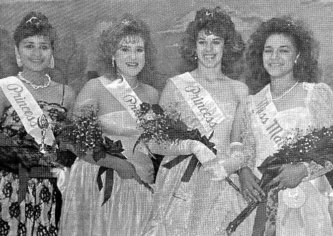 Celeste Zavala, far right, was named Miss Mabton 1987 as part of the Mabton Community Days festivities. Her court included, left to right, alternate princess Adela Solis, second princess Christine Kelly, and first princess Nicole Boast.