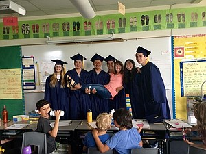 HRVHS graduates stop by Joelena Evans' Westside classroom: Peyton McCaw, Giovanni Dominguez, Giovani Perez, Luis Chaparro, Abby Kinoshita and Hunter Kline.