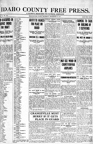 The front page of the Dec. 27, 1917, Idaho County Free Press. Historic Free Press issues from 1886 to 1917 are digitized and available online.