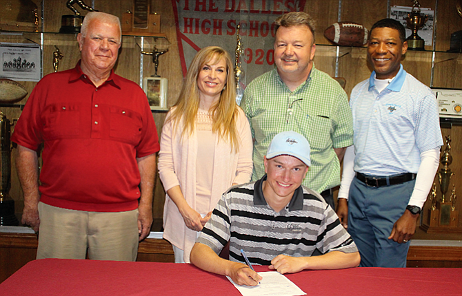 The Dalles High School graduate Chase Snodgrass, in middle, earned a scholarship to continue his golf career at Warner Pacific College. The 5A state placer plans to major in exercise science with a goal of becoming a physical therapist. Also in the group photo are, from left, The Dalles boys' golf coach Kent Smith, his mother, Mary, his father, Jary, and Warner Pacific coach and PGA professional, Quincy Heard.