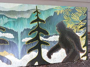 BIGFOOT panel is just one scene created by alternative school students. The portable is located next to Henderson Stadium and can be viewed at any time. An earlier Alison Fox-led mural adorns the health clinic building next to it.