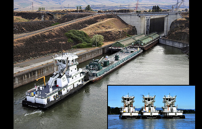 "The newest tug boat to work the Columbia River is the ""Ryan Point,"" pictured above entering the locks of The Dalles Dam in a photograph by Gary Elkinton."