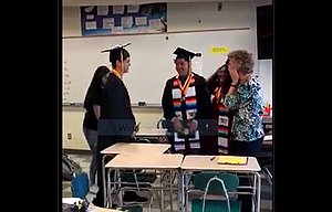 In this screenshot from the video of a mini-graduation staged by six students, The Dalles High School teacher Mary Jo Commerford reacts with tears to their gesture. Commerford had to miss graduation because she went to Florida to grade AP exams, so the students arranged to re-create the moment for Commerford on the last day of school last week.