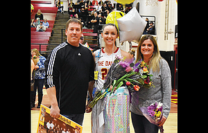 The Dalles basketball player Brooke McCall is joined by her parents, Jeff and Cheri at senior night festivities during the basketball season. The 2017 TD Riverhawk Hall of Famer will play guard for a Div. III George Fox University program that has amassed a 180-27 overall record under head coach Michael Meek.