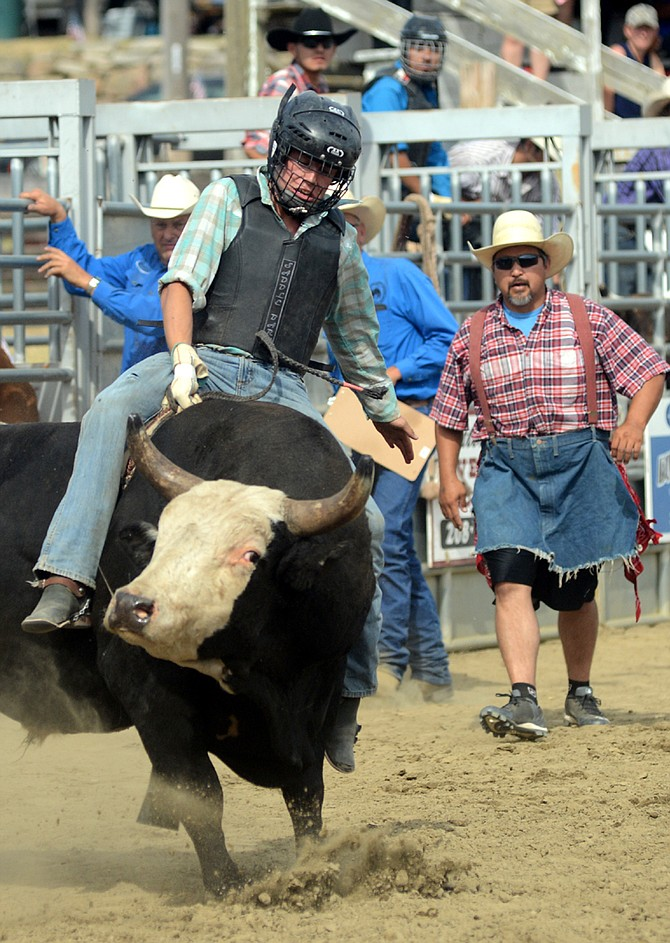 Bull rider in the 2015 Grangeville Border Days Rodeo.