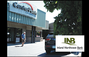CenterPointe bank has branch banks in The Dalles and, above, on West Cascade in Hood River. On July 6, shareholders will meet in Hood River to vote on a proposed merger with Inland Northwest Bank, based in Spokane, whose logo is pictured inset.