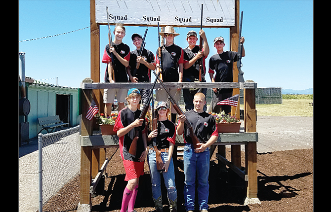 The Dufur High School clay target team competed in the Oregon High School State Tournament last weekend in Hillsboro. In the photo are, from left to right, starting with the bottom row, Caleb Olson, Jessica Elam and Andrew Richman. On top are, from left, Peyton Neal, Parker Wallace, Louis Red Cloud, Karl Wilson and Kyler Powell. Of the eight Ranger participants, Neal and Powell both took home second-place awards for their division.