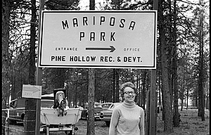 """Terray Harmon contributed to this report. Last week's History Mystery, above, was scanned from a 2 1/4- inch by 2 1/4 inch black and white negative from the archives of The Dalles Chronicle. Information on the envelope reads, """"Lake, Pine Hollow, Dedication. April 18, 1970."""" The sign reads, """"Mariposa Park, entrance - office, Pine Hollow Rec. & Devt."""""""