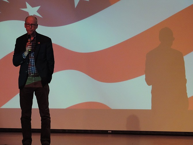 Rep. Greg Walden listens during the April town hall held at Hood River Middle School.