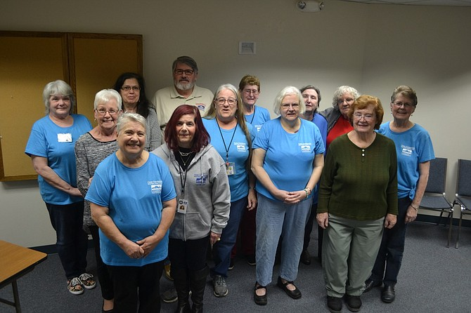 Several of the volunteers who work in the Foster Grandparent program gathered recently at the OCWCOG building in Albany, but volunteers are spread out among three counties, where they help children in their local schools to improve their educational skills.