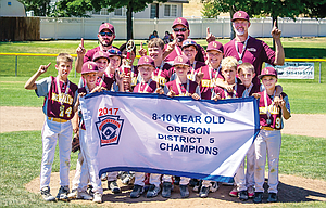 The Dalles 10U Little League All Stars defeated Bend North by a 9-5 score on Saturday to capture the District 5 championship. In the photo are, from left to right, starting in the front row, Trey Hodges, Derek Goulart, Joshua Brackenbury, Nolan Cates, Reese Kenslow, Hudson Case and Carson Ramsay. In the middle row are, from left, Finley Corbin, William Booth, Jonah Ofisa, Cody Agidius, Avery Schwartz and Sterling Coburn, In the back row are, from left, head coach Michael Cates, assistant coach Mark Coburn and assistant coach Randy Goulart. The 10U Stars will make their trip to Portland starting on Saturday, July 22 at Erv Lind Field for the start of state action with a game at 6 p.m.
