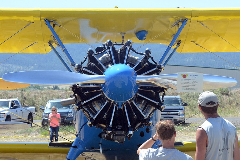 Organizers estimated several hundred people had attended the Puget Sound Antique Airplane Club's 2017 Northwest Air Tour during the morning July 12 at the Idaho County Airport. Pictured is a 1940 Stearman PT-18 Kadet out of Enumclaw, Washington.