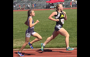 The Dalles track and field runner Emily Johnson, in front, completed her summer campaign at the four-day USATF Region 13 Junior Olympic Championships ending Sunday in Spokane, Wash., with a pair of top-14 finishes against a tough field of competitors. Johnson placed 12th in the 3,000 meters with a time of 12 minutes and 22.25 seconds, and she tacked on a final marker of 5:31.00 to lock down 14th in her try at 1,5000 meters.