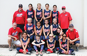 "The Dalles 12U Cherry City Crush posted a 2-2 record at the 25-team ASA 12U 'B"" State Championships ending on June 30 at Howard M. Terepenning Field at the Tualatin Hills Parks and Recreation Center. In the photo are, from left to right, starting in the front row, Dominique Mausolf, Lilly Schatz, Ella Smith and Amyrah Hill. In the middle row are, from left, assistant coach Dave Jones, Sierra Faulkner, Jeilane Stewart, Ashlyn Jones, Zoe LeBreton, Alicia Anderson and head coach Ryan LeBreton. In the back row are, from left, assistant coach Joe Abbas, Kaleyah Crichton-Tunai, Kennedy Abbas, Naomi Heredia, Keiliani Crichton-Tunai and assistant coach Jeff Smith."