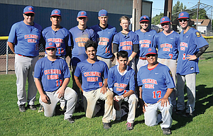 Columbia Gorge 'AAA' baseball players and coaches come together for a group shot during American Legion action at Quinton Street Ballpark. With two doubleheaders remaining, head coach Ed Ortega discussed the program's season and the future. In the photo are, from left to right, starting in the back row, assistant coach Jeff Justesen, Jose Gonzalez, Jordan Wetmore, Jacob Wetmore, Ben Nelson, Daniel Peters, Johnny Miller and Jacob Smith. In the front row are, from left, Kristos Kiser, Dominic Smith, Dylon Jinkins and head coach Ed Ortega. Not pictured: Justin Sargeant.