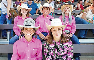 Columbia Basin Rodeo Club participants completed the season at the Silver State International Rodeo in Winnemucca, Nev. last weekend with positive results. In the photo are, from left to right, starting in the back, Morgan Brumley, Bryce Harrison and Morgan Jane Coyne. In the front, from left to right, are junior high competitors Kallyn Wilkins and Madison Malcolm. CBRC starts its new season in September.