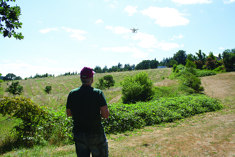 A team from Oregon State University Extension used  drone to film La Creole Orchards on Thursday.