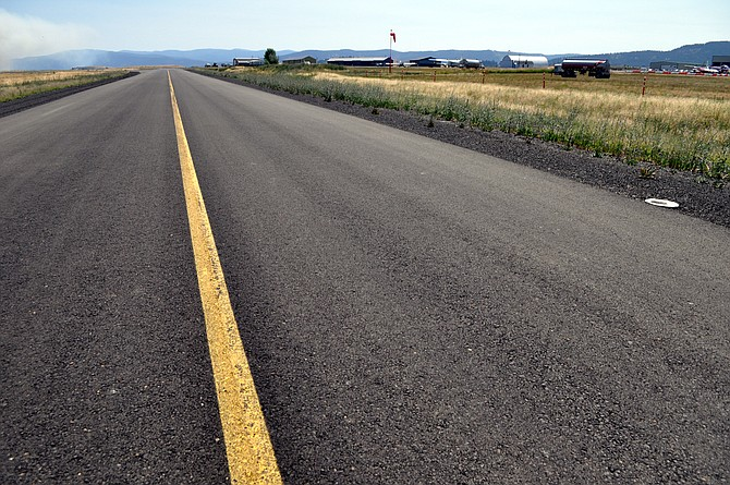 Taxiway at the Idaho County Airport, looking east.
