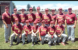 The Dalles Babe Ruth 13U All Stars finished the season with a 1-3 record at the Babe Ruth Regional Tournament held in Meridian, Idaho this past week. In the photo are, from left to right, starting in the front row, Keon Kiser, Carson Smith, Elijah Roden, William Shute, William Hoover and Jaxon Pullen. Standing in the back row are, from left, assistant coach JR Pullen, Austin Agidius, Gabe Petroff, Gavin Lutgens, Brock LaFaver, Braden Carnine, Jace Troutman, assistant coach Todd Numm and head coach Chad Smith. TD qualified for regional play after a runner-up finish at state on July 15 in West Linn.