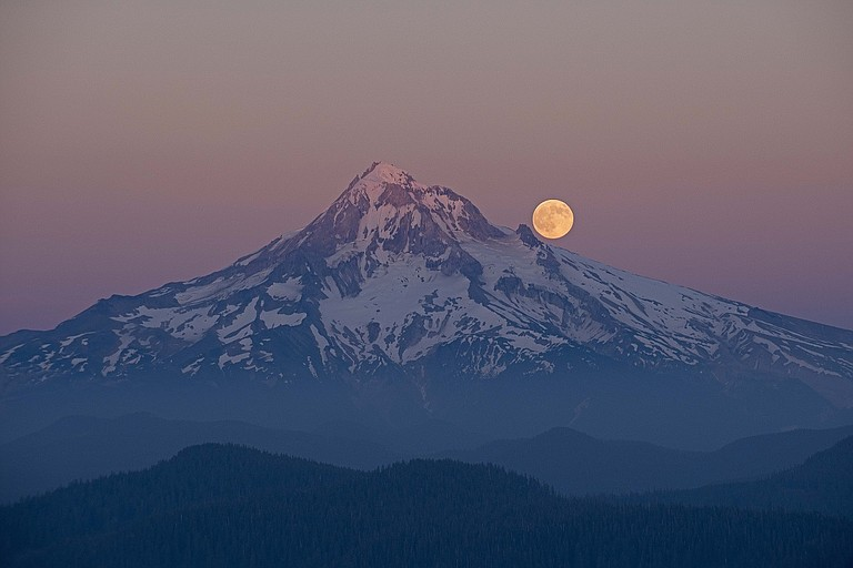 Full Buck Moon over Mount Hood from Larch Mountain.