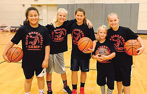 Youth basketball athletes representing The Dalles, pictured from left to right, Despina Seufalemua, Sydney Newby, Laci Hoylman, Bryce Newby and Maddie Brock participated in the co-ed Elite Basketball Camp this week at The Dalles Middle School.