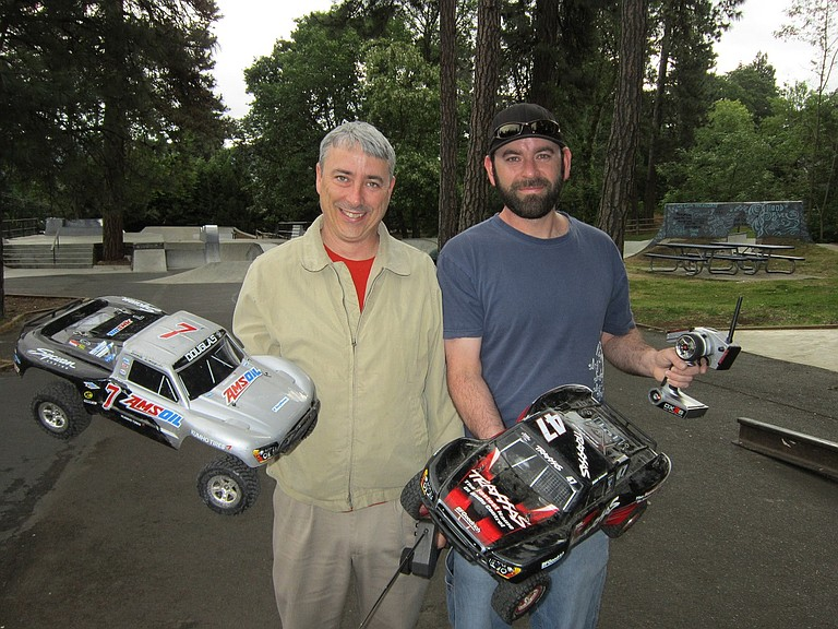 Above, Hood River Hobbies' Zed Ruhlen and Mike Snedecor.
