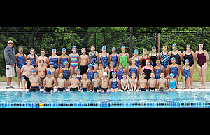 The Dalles Swim Team had a large group of 34 swimmers, from all levels, combine for 1,662 laps or the equivalent of 41 miles to raise in excess of $2,300 at its annual Dolphin Dive fundraiser completed on Monday, July 17, at the Ted Walker Memorial Pool in the North Wasco Aquatic Center. In the team photo are, in front row, from left to right, Skyler Coburn, Bradley Bowman, Dylan Phetteplace, Jase Perez, Cohen Donnell, Thatcher Dray, Maverick Varland, Kaiya Doty, Colin Webber, Austin Moody, Sam Ford, Danner Varland, Jarrett Thompson and Rosie Wilson. In the middle row are, from left, Carter Randall, Trace Larson, Rhett Loughmiller, Kaia Grasa, Salma Ladkani, Kiera Taylor, Sawyer Dray, Kyan McAllister, Raina McAllister, Kendall Webber, Lillian Dupuis, Rowan Bierwirth, Lindy Taylor and Lulu Grasa. In the back row are, from left, head coach Scott McKay, Maddy Stansbury, Scarlett Mendez, Logan Baumgarten, Annika Baumgarten, Maisie Bandel-Ramirez, Alex Rector, Logan Alvarez, Hannah Haight, Grace Haskins, Lydia DiGennaro, Kennedy Abbas, Kyra Paulus, Shantill Moody, Marin Alvarez, Bree Webber, Maddy Larson, Lydia Evans and assistant coach Allie Wood. The team heads to Bend for its final meet, a three-day event, starting on Aug. 11.